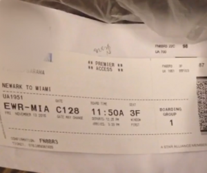 Boarding pass for airplane