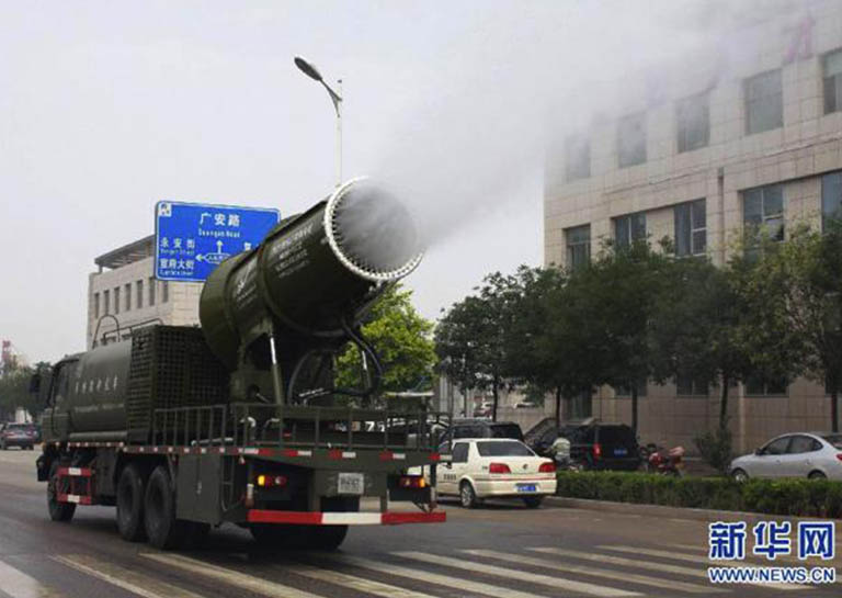 China Is Fighting Pollution By Using Water Mist Cannons