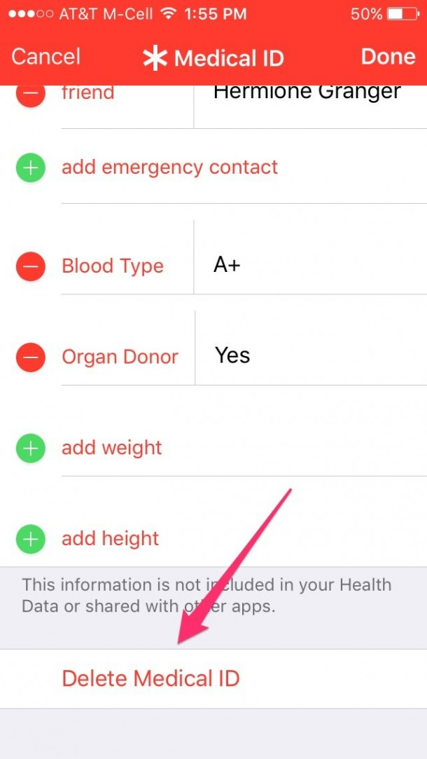 iOS health app medical ID