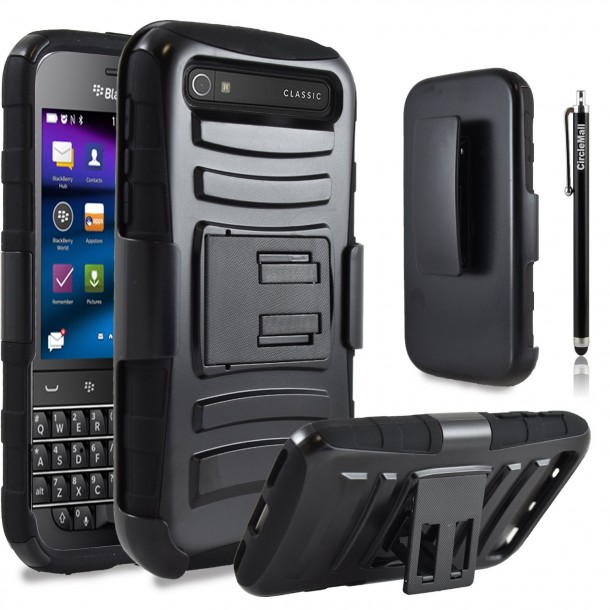 Blackberry Classic Case, Combo Rugged Shell Cover Holster with Built-in Kickstand and Holster Locking Belt Clip Black by Circle