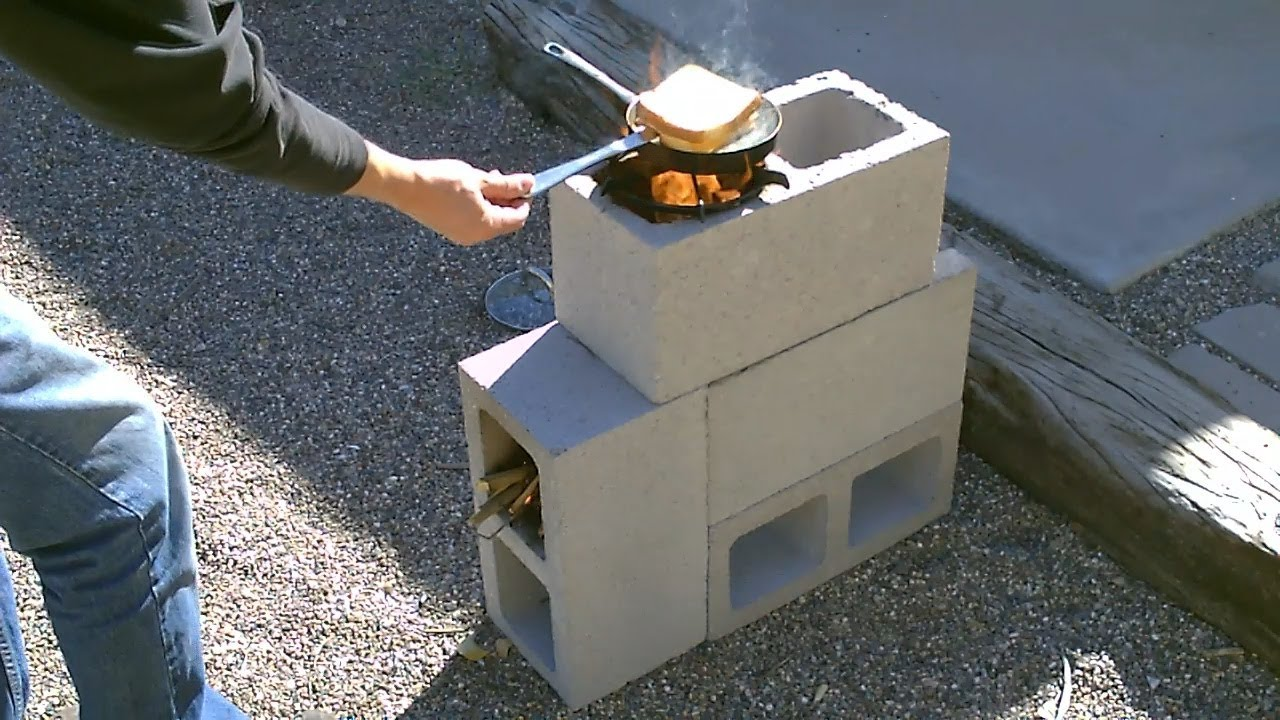 build your own rocket stove with a few cinder blocks
