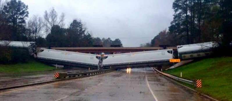 Train blown away by wind