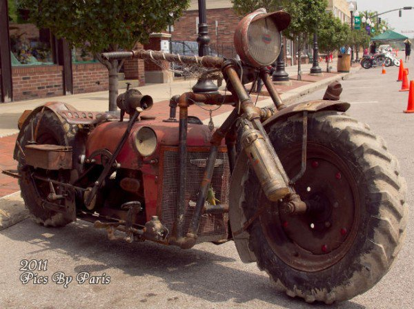 guy makes cycle from tractor parts
