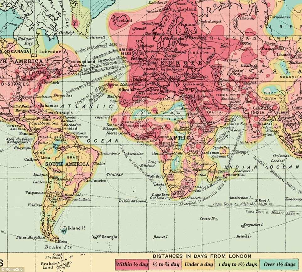 isochronic maps 1914 2016-2