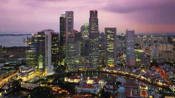 Singapur Skyline at night, Singapur