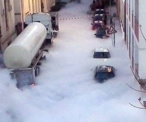 truck carrying carbon dioxide German city