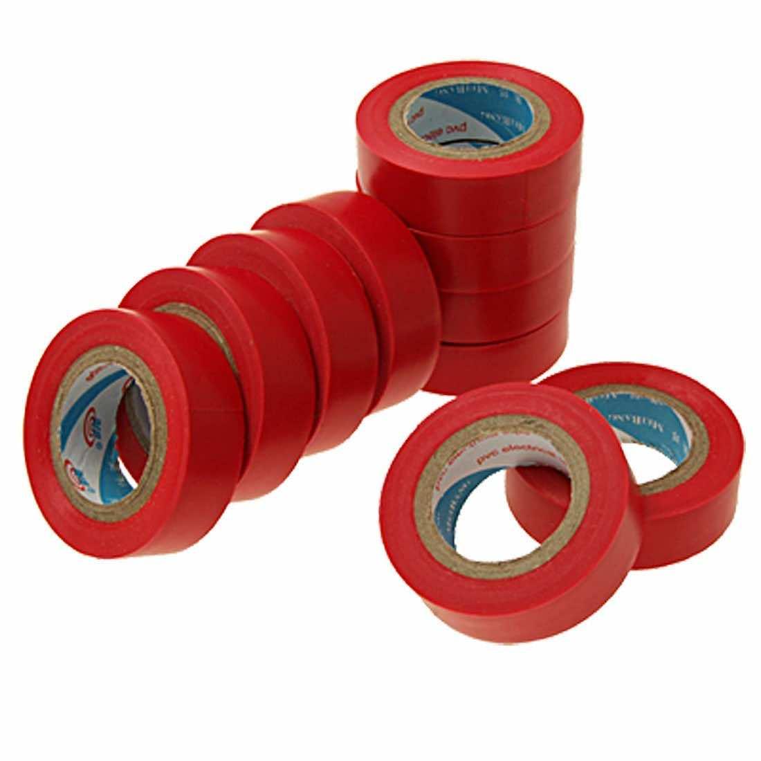 10 Rolls Adhesive PVC Plastic Electrical Tape Black