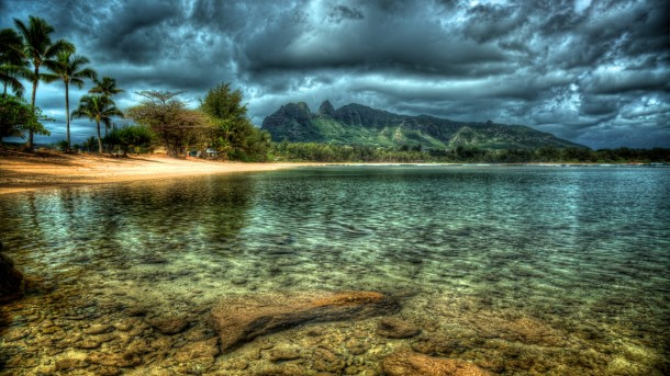 Taken during our recent visit to Kauai, this is one of the locations visited by Hawaiian Landmark Images EZ photo tour. http://www.hawaiianphotos.net/Kauaitours.htm Tonemapped HDR of a bay on Kauai. Canon 5D Mark II, 24-105mm f/4L at 24mm f/8 with polarizing filter, Photomatix Pro 3, Adobe Photoshop CS4, Topaz Denoise 3 Tonemapped using Detail Enhancer.