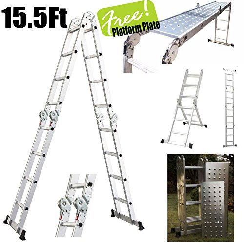 15.5' Platform Multi-Purpose Folding Aluminum Ladder