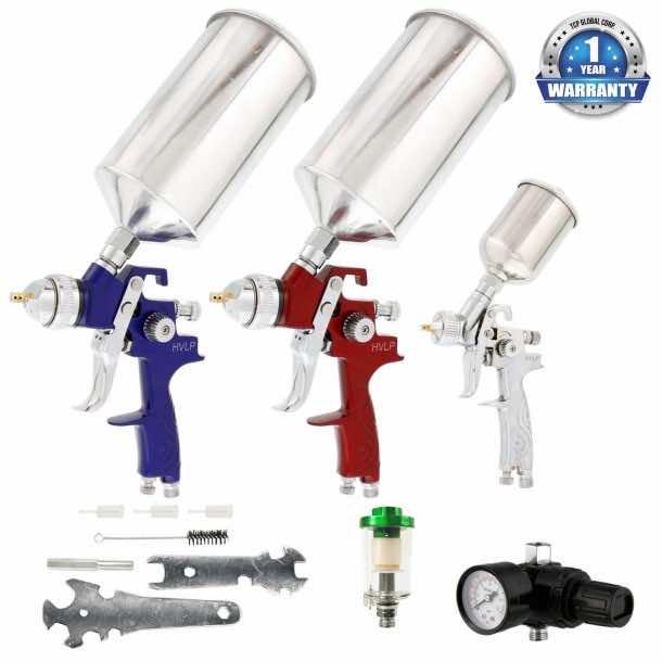TCP Global® Brand HVLP Spray Gun Set