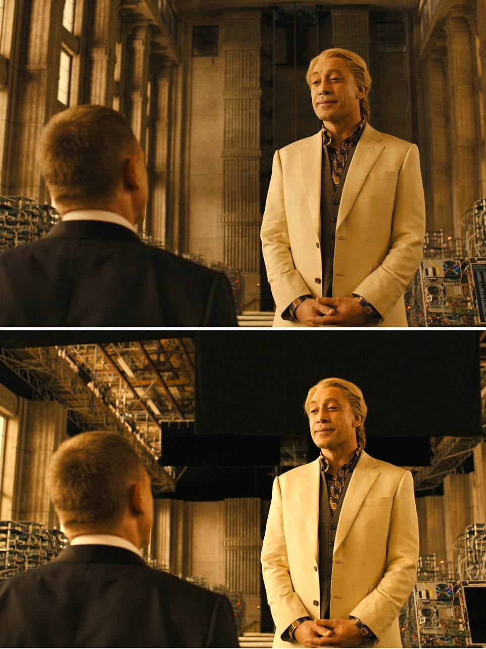 Skyfall (2012) Daniel Craig (LEFT) lured into the 'not so grand' lair of villain Raoul Silva (Javier Bardem - RIGHT) as special effects give the impression of a towering hall.