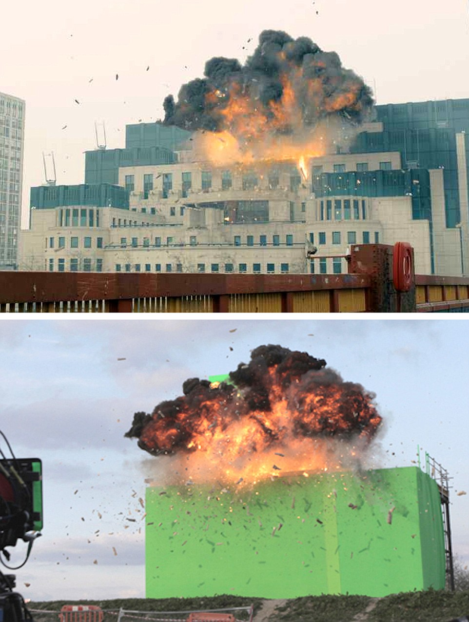 Skyfall (2012) - In now a famous James Bond legendary scene the MI6 building on London's Thameside building is scene expoding - however (TOP) the real explosion took place safely some 25 miles away on a scaffold construction at Pinewood Studios before 'layered' on digitally to film of the real headquarters