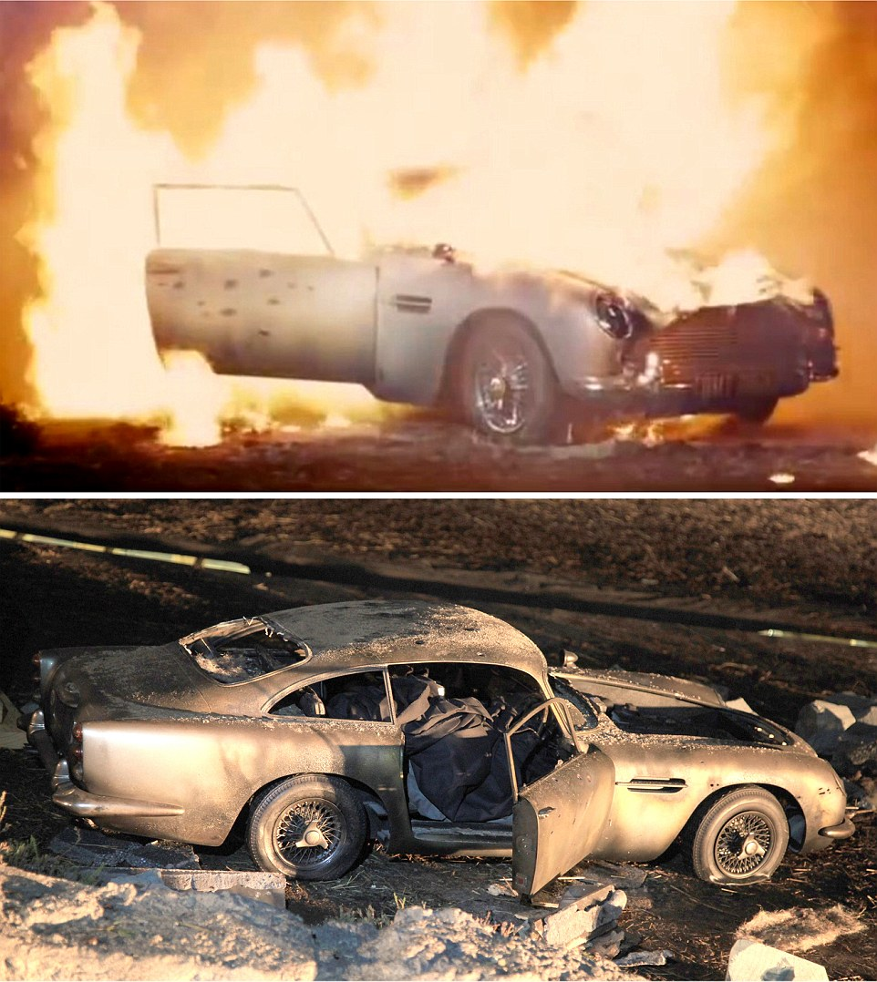 Skyfall (2012) - Too valuable a car to really destroy James Bond's prized Aston Martin DB5 is seen destroyed in the film (below) however as seen in top photo the car was a scale model