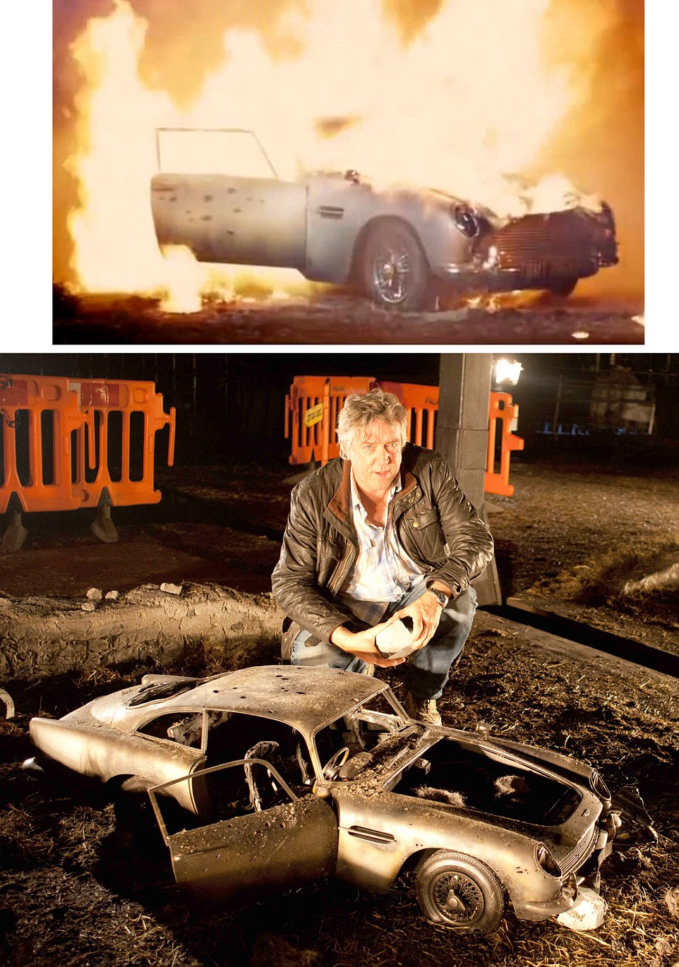 Steve Begg - Special Effects designer - with 3rd scale miniature Aston Martin DB5 and TOP the same model exploded for Skyfall (2012) - as the film sees an explosion destroy James Bond's prized Aston Martin DB5