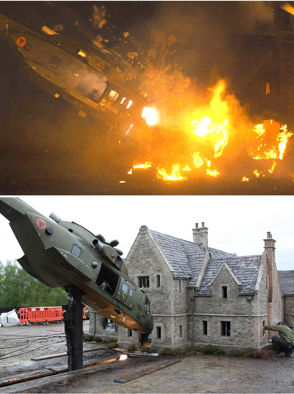 Skyfall (2012) - Skyfall Lodge - the childhood home of James Bond is seen in model form (see man on right for scale during filming) before explosively attacked by enemy helicopter.