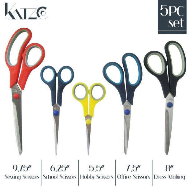 5 Pieces Scissors Stainless Steel Comfort Grip Multi-Purpose Scissors Set
