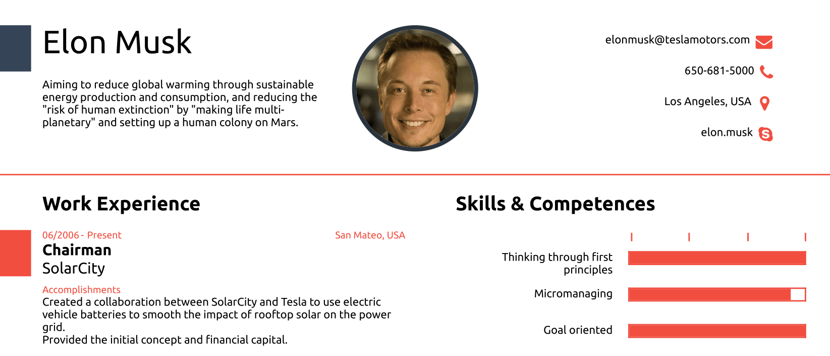 elon musk s one page cv show how you never actually need more than