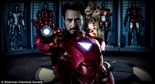 Tony Stark in Iron Man suit made from titanium-gold alloy. Credits: American Chemical Society