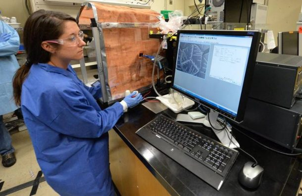 Heather Enright, a biologist at Lawrence Livermore National Laboratory, looking at a computer chip that replicates human biological systems Picture Credits: newsobserver