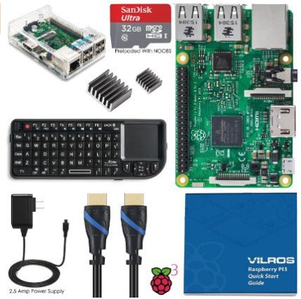 Vilros Raspberry Pi 3 Model B Complete Starter Kit with Keyboard--Clear Case Edition
