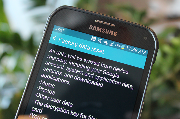 Factory reset data