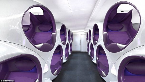 Air Lair concept offers passengers their own personalized cocoon. Credits: Factory Design