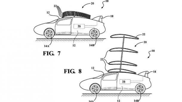 Toyota Patent showing stackable wings concept. Credits: priuschat.com