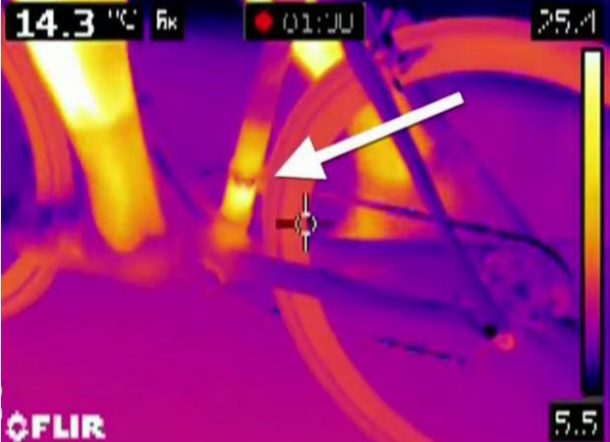Thermal imaging revealed heat in the exact area where a hidden motor would be. [Picture credits: from road.cc]