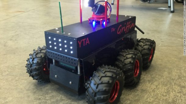 """Scoutbot"" is made up of mostly recycled and 3D printed materials. Credits: money.cnn.com"