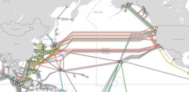 Map of trans-Pacific cables. Credits: TeleGeography