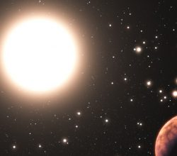 This artist's impression shows one of the three newly discovered planets in the star cluster Messier 67. In this cluster the stars are all about the same age and composition as the Sun. This makes it a perfect laboratory to study how many planets form in such a crowded environment. Very few planets in clusters are known and this one has the additional distinction of orbiting a solar twin — a star that is almost identical to the Sun in all respects.