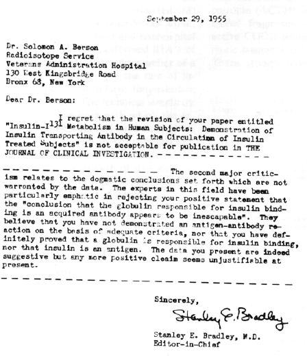 Rejection letter received by Dr. Yalow