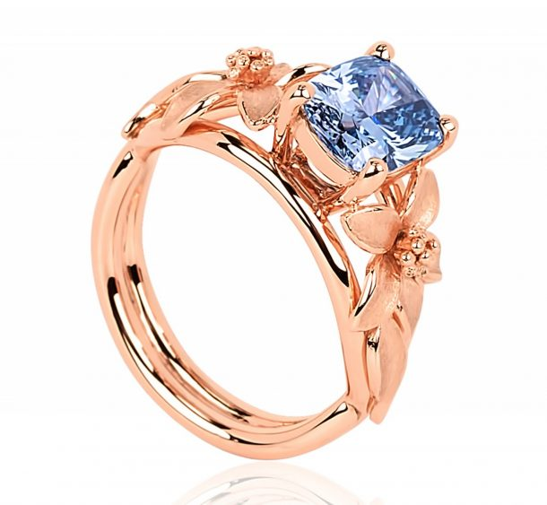 The design of the ring was inspired by Seymour, and includes a geranium-type floral motif in rose gold over platinum. Credits: Forbes
