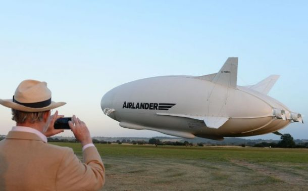 The Airlander 10, the largest aircraft in the world, takes off on its maiden flight from Cardington airfield in Bedfordshire.