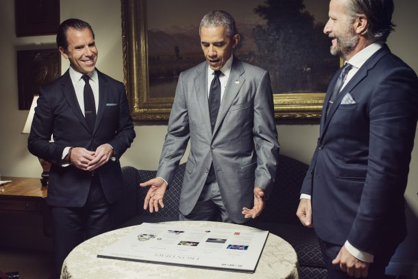 President Barack Obama reviews layout boards in the Roosevelt Room with Wired Magazine Editor in Chief Scott Dadich and Editorial Director Rob Capps for the issue he his guest editing. Credit: WIRED