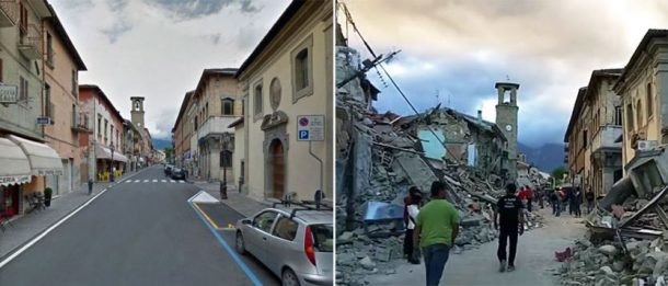 These pictures show the main street in Amatrice before and after the quake. Credits: Google/ AP