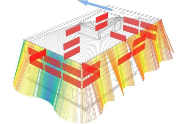 This diagram shows tensile strength applied to the exterior rods during an earthquake. Red shows the areas of most tension, ranging through to yellow and then blue, where there is least. Credits: Wired