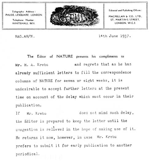 """Rejection letter from journal """"Nature"""" to Hans Krebs"""