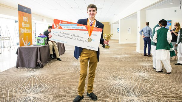 Ryan Catalfu takes home the gold (and the prize money) at the Microsoft Office Specialist World Championships. Credits: Certiport