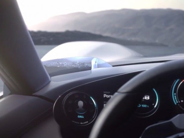 Camera display at lower corner of Windshield. Credits: Porsche
