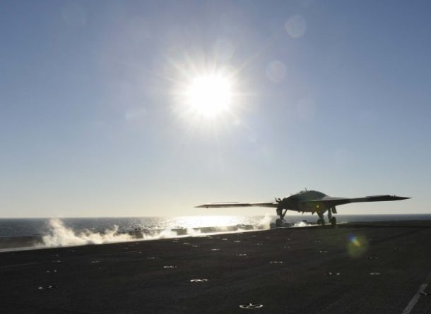 The experimental X-47B Unmanned Combat Air System Demonstrator (UCAS-D) launches from the aircraft carrier. (Credits: U.S. Navy photo/ Sean Weir)