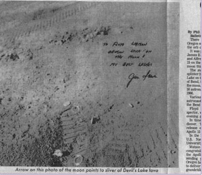 This image of Floyd Watson's photo of his piece of rock on the moon, autographed by astronaut James Irwin, ran on the front page of The Bend Bulletin on Oct. 2, 1971. (Picture Credits: Bend Bulletin)