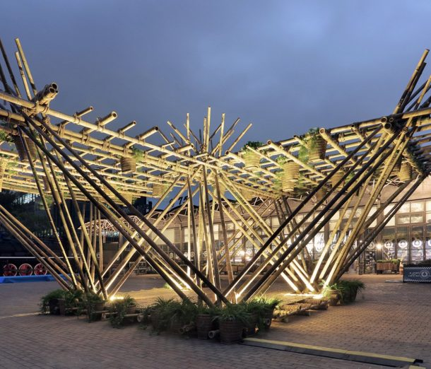 The treehouse would use recycled, local bamboo and have little environmental impact on the site. Credits: Penda