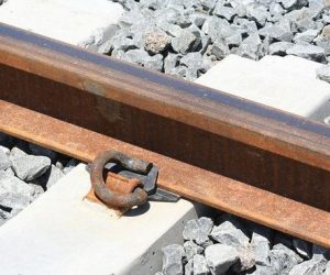 Crushed stone train track