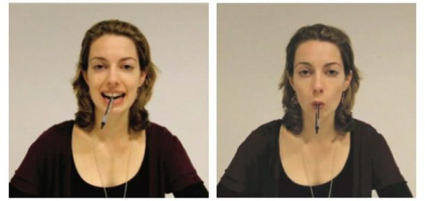 Subject holds a pen in her teeth while smiling (left) and in her lips, forming a pout. (Image: Quentin Gronau/Flick)