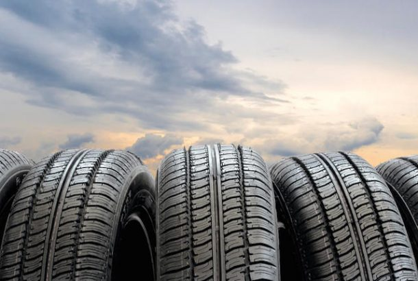 Set of tires on a sky background