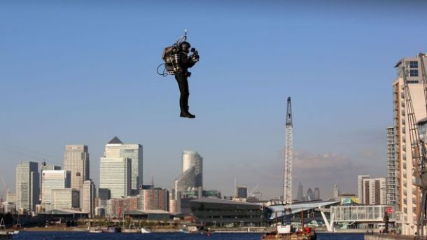 David Mayman pilots the JB-10 Jetpack flying machine over the Royal Victoria Docks in east London