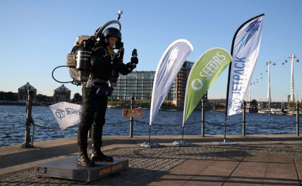 David Mayman before he piloted the JB-10 Jetpack flying machine over the Royal Victoria Docks in east London on its maiden flight in the UK to mark the launch of an equity crowdfunding campaign on Seedrs. PRESS ASSOCIATION Photo. Picture date: Wednesday October 5, 2016. Light enough to be carried by one person, small enough to fit in a car, and with a flight time of up to 10 minutes at speeds of up of 60mph, the JB-10 has a wide range of potential applications and commercial uses. See PA story TRANSPORT Jetpack. Photo credit should read: Chris Radburn/PA Wire
