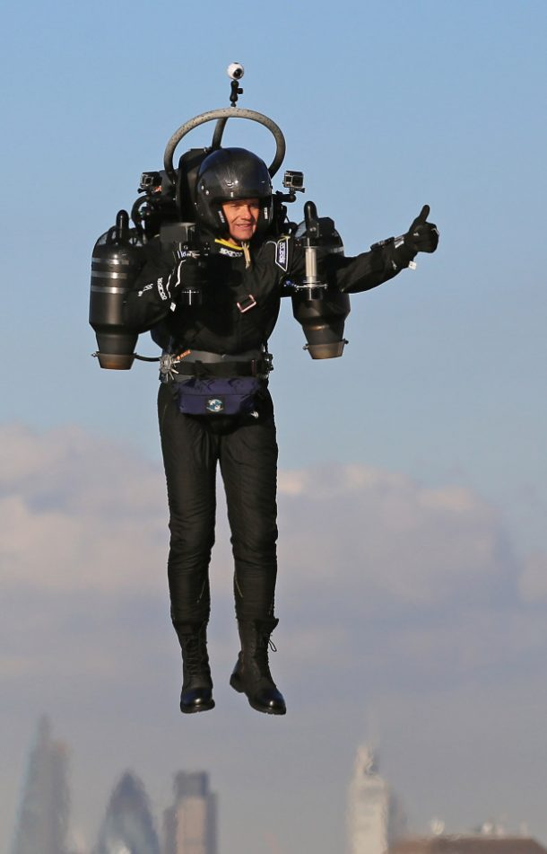 David Mayman pilots the JB-10 Jetpack flying machine over the Royal Victoria Docks in east London on its maiden flight in the UK to mark the launch of an equity crowdfunding campaign on Seedrs. PRESS ASSOCIATION Photo. Picture date: Wednesday October 5, 2016. Light enough to be carried by one person, small enough to fit in a car, and with a flight time of up to 10 minutes at speeds of up of 60mph, the JB-10 has a wide range of potential applications and commercial uses. See PA story TRANSPORT Jetpack. Photo credit should read: Gareth Fuller/PA Wire