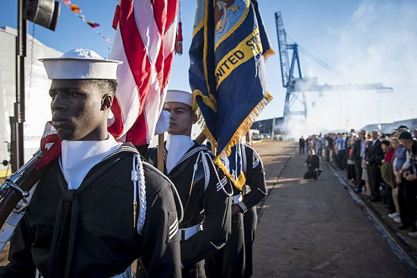 161015-N-AT895-366 BALTIMORE (Oct. 15, 2016) The color guard prepares to parade the colors during the commissioning ceremony for the Navy's newest and most technologically advanced warship, USS Zumwalt (DDG 1000). (U.S. Navy photo by Petty Officer 1st Class Nathan Laird/Released)